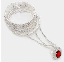 Red Clear Crystal Rhinestone Wedding Formal Slave Hand Chain Ring Bracelet