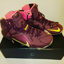 Lebron 12 DOUBLE HELIX Merlot/Volt/Pink Mens Shoes Size 11 VNDS Xtra Clean