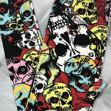 Skull Abstract Print Buttery Soft Leggings Pants OS 2-10 Red Black One Size