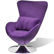 Luxury Retro Purple Egg Swivel Chair Chrome Base Recliner Seat Lounge Armchair