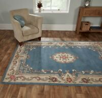 SALE Chinese Aubusson Blue Wool Rug in various sizes runner half moon and circle