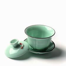 on sales gaiwan fish relief longquan celadon tea bowl lid cup saucer porcelain