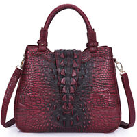 Womens PU Crocodile Embossed Handbag Leather Satchel Tote CrossBody Shoulder Bag
