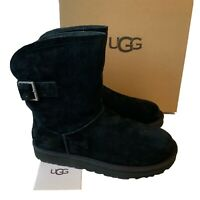 Women's UGG Boots Size UK 6 Black Remora Buckle Suede Boxed