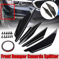 4X Universal Carbon Front Bumper Lip Splitter Fin Body Spoiler Canards Trim Kit