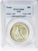 1935 Texas Silver Commemorative Half Dollar - PCGS  MS-66 - Mint State 66
