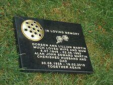memorial plaque grave  black stone headstone grave personalised engraved24