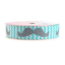 Glitter Mustache Chevron Grosgrain Ribbon, 7/8-Inch, 3 Yards