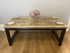 Coffee Table Reclaimed Wood And Steel Rustic Industrial Vintage