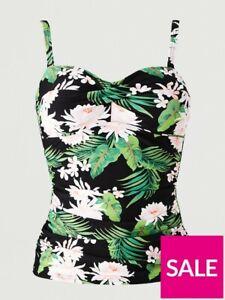 V by Very Shapewear Twist Front Tankini Top Black Tropical Size UK 16 UK