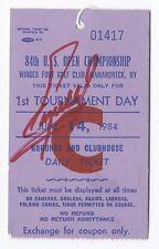 1984 US Open Ticket Stub 1st tournament Round Signed By Winner Fuzzy Zoller