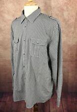 Calvin Klein Long Sleeve 100% Lightweight Cotton Black Check Shirt Men's XL