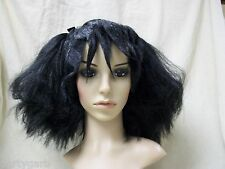 Black Dead Pigtails Wig Skull Bows Lydia Deets Beetlejuice Goth Doll Zombie Punk