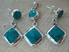 REAL 925 STERLING SILVER Turquoise Diamond Shaped Drop Earrings & Pendant WOMEN