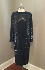Vintage 80s Glam Sequin Beaded Black Dress Small 100% Silk Made In India Disco