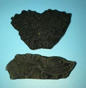 """2 - Vintage Carved Wood Batik Printing Block Stamps Textile Floral 4.5"""""""