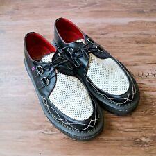 T.U.K. Creepers Black White Leather Mens Rockabilly Oxford Shoe TUK Sz 10