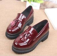 1 Women's round toe Patent Leather Tassels slip on Casual Chunky heel Shoes