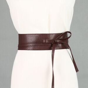 Women's Leather Wrap Around Tie Corset Cinch Waist Wide Dress Belt Accessories
