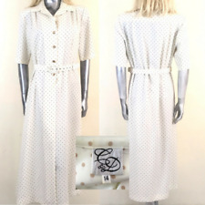 Vintage 1960's C&D Basic Dress Cream Beige Dotted Belted Size 14