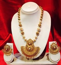 Bollywood Indian Bridal Necklace Earrings Jewellery Set Antique Gold Pearls P8