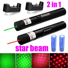 New listing 2Pc Green+Red Laser Pointer Pen Visible Beam Star Beam 18650 Rechargeable Lazer