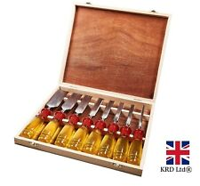 8Pcs CHISEL SET Wood Carving Work Tools Chisels Carpenter WOODEN BOX E0610 UK