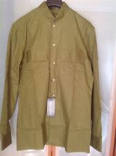 VALENTION  MENS $895 OLIVE GREEN MILITARY COTTON SHIRT NWT SZ L SLIM/FIT ITALY