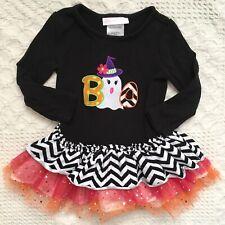 Bonnie Jean Toddler Girls Black Halloween Shirt Top Ruffles Tutu Size 18 Months