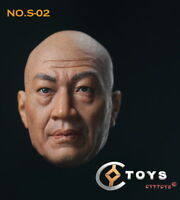 1/6 Asia Man Middle-aged Male Baldhead Head Carving Sculpt F 12'' Figure Body