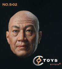 1/6 Asia Man Middle-aged Male Baldhead Head Carving Sculpt F 12'' Figure Body