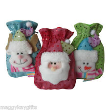 3 Pack x  Luxury Mini Christmas Fabric Gift - Treat - Jewellery -  Party - Bags