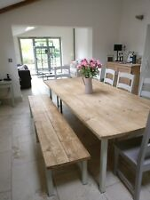 Very Large Reclaimed Scaffold Board Dining Table And Bench. Handmade to order