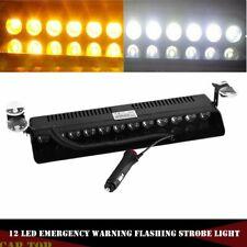 Amber/White 12 LED Auto Windshield Strobe Light Emergency Flash Warning Lamp 12V