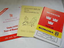 3 Rugby Union brochures Of Tours To Romania From The 1980's