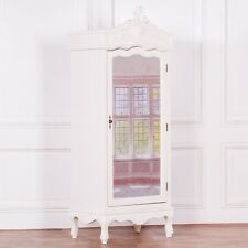 French Cream Chateau Shabby Chic Mirrored Single Door Armoire Wardrobe