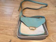 Mint green, white & grey faux leather cross-body satchel bag. Atmosphere