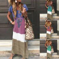 Women Summer Maxi Long Dress Ladies Short Sleeve Casual Kaftan Dress Sundress UK