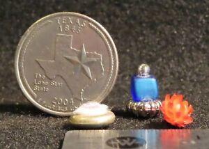 Vanity Item Blue Perfume Flower Powder Ladies Boudoir Bedroom 1:12 Mini 4031