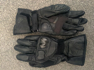 Dainese Leather motorcycle gloves, black, size small. Debadged and blacked out