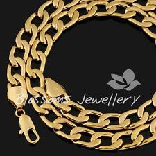 """9K 9CT Yellow GOLD Layered LINK MENS Wide Chain 10mm WIDE NECKLACE 23.5"""" 92gram"""