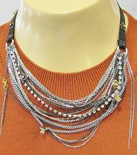 JUICY COUTURE NECKLACE SILVER CHAINS RHINESTONES BLACK RIBBON GIFT NWT