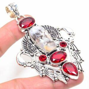 "Dendrite Opal, Red Garnet Handmade Ethnic Style Jewelry Pendant 3.35 "" UL"