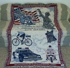 New Policeman Police Officer Cotton Afghan Throw Gift Blanket Squad Car Hero K-9