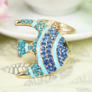 Gold Blue Fish Sea Turquoise Aquatitic Crystal CZ Keyring Chain Handbag Charm