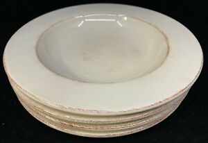 4 Rimmed Soup Pasta Bowls Pier 1 One Toscany Ivory Brown Edge Cream 243273