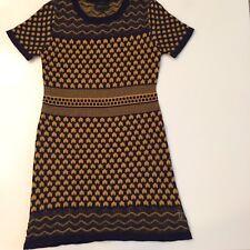 1c8215aac42 Romeo Juliet Couture Navy Blue Yellow Knit Stretch Short Sweater Dress M  Winter