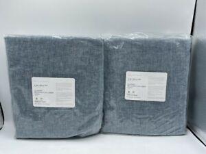 New Pottery Barn Belgian Flax Linen Drapes 50x84~Blue Chambray~ S/2