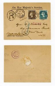 St Vincent - 1897 Neat OHMS with 2 1/2d and 6d SG 61, 62 on Registered to USA