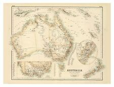 Old Vintage Australia and New Zealand map Fullarton ca. 1872